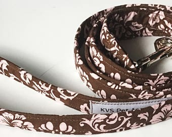 Brown and Pink Victorian Dog Leash in 4, 5, or 6 Foot Lengths