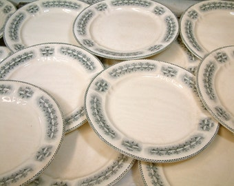 Antique french ironstone grey transferware dinner plates from H.B.& Cie. / CHOISY-le-Roi. Art Nouveau / Art Deco.French transferware
