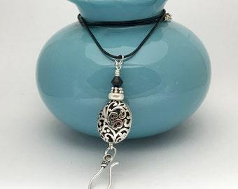 Portuguese Knitting Necklace- Silver Filigree Pendant Yarn Holder- Gift for Knitters- Adjustable Leather Necklace- Stitch Marker Holder