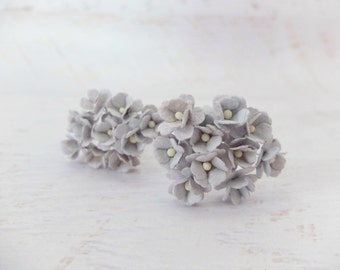 20 15mm light gray mulberry paper hydrangea - 1.5 cm paper flowers