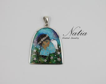 Angel,Cloisonne enamel,Handmade jewelry for women,Pendant,Gifts for women,Gifts for mom,Best friend gifts,Sterling silver