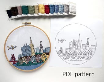 San Francisco Hand Embroidery pattern PDF.Embroidery Hoop art, Hand Embroidery, Wall Decor, Gift. Free Hand embroidery guide!