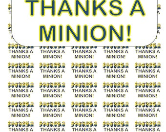 "50 Thanks a Minion! Thank You Envelope Seals / Labels / Stickers, 1"" by 1.5"""