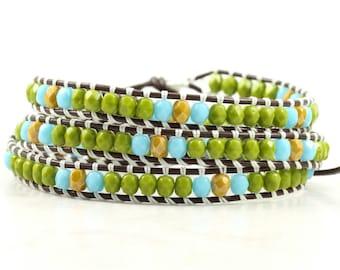 Olive Green Autumn Wrap Bracelet Skinny Blue Wrap Bracelet Brown Leather Wrap Bracelet Boho Jewelry Bohemian Jewelry Mustard Fall Jewelry
