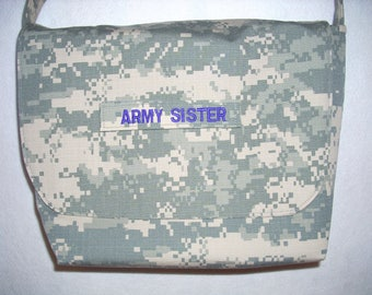 Custom military branch messenger bag Handmade to your specs choose fabric, colors, words, style, support our troops honor our military men and women