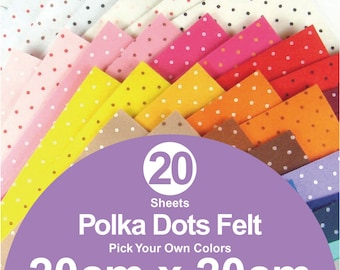 20 Printed Polka Dots Felt Sheets - 20cm x 20cm per sheet - Pick your own colors (P20x20)