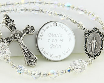 Wedding Rosary, Bride Rosary, Bridal Gift, Swarovski Rosary, Personalized Rosary, Rosary Beads, Bouquet Rosary, Name Rosary, LoveABABCs