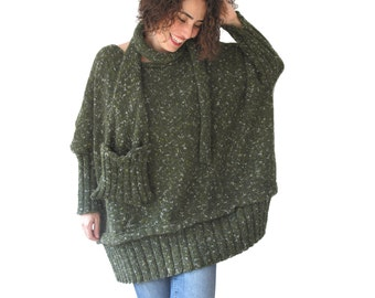 Tweed Green Over Size Sweater with Pocket Scarf by AFRA Sweater - Scarf Set Plus Size