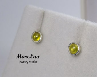 Cabochon Chrysolite Studs,  Silver or Gold, Yellow 3 mm Synthetic Chrysolite Earrings, Simulate Chrysolite, Little Earrings, Chrysolite