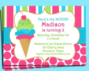 Ice Cream Invitation Printable or Printed with FREE SHIPPING - Pink Bubblegum Ice Cream with a Cherry on Top