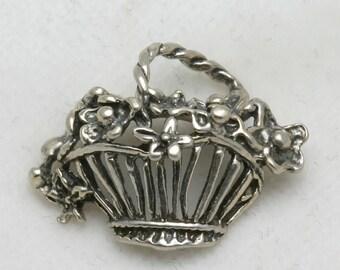 Vintage 925 Sterling Silver FLOWER Basket Pendant Charm Oxidized