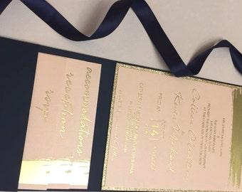 Blush invitations, Pocket Invitation, Blush and gold, gold foil invitation, Glitter invitation, Wedding, gold glitter, brushstroke design