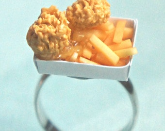 french fries and chicken nuggets ring -miniature foods jewelry, food ring