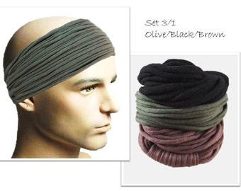 Mens Headband Mens Hair Accessory Men Headwear Dreadlock Accessories Men Head Scarf Hair Accessories Olive Black Brown Headband for men