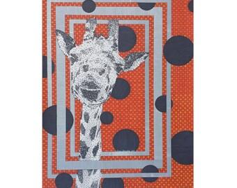 Wild Giraffe Card - Blank Greeting Card - 5x7 Stationery - Orange Card - Zoo Animal Card - Safari Stationery - Card For Him - Thank You Card