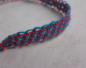 19 inch red and turquoise hemp necklace