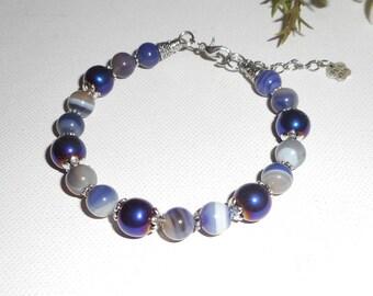 Purple agate and Hematite stones bracelet