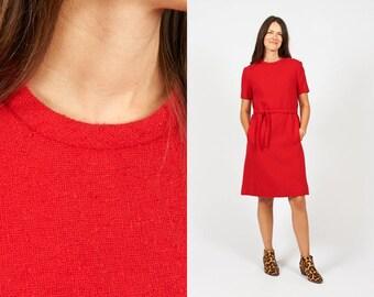 Vintage 60s Red Wool Shift Dress