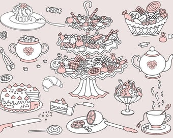 Doodle Tea Clipart - Digital Vector Tea, Sweets, Tea Time, Tea Party, Cake, Sketch Clip Art for Personal and Commercial Us