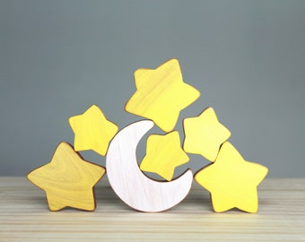 Wooden moon and stars, space, baby's room decoration