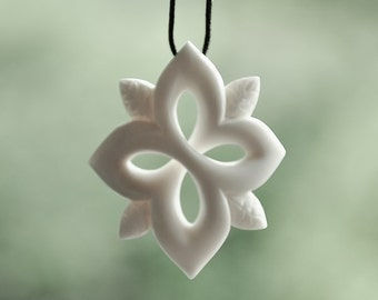 Bone Snow flake Star, direction symbol ~ Handcarved in Bone.
