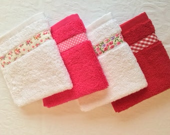 Luxury White Pink Red Flannel Wash Face Cloth