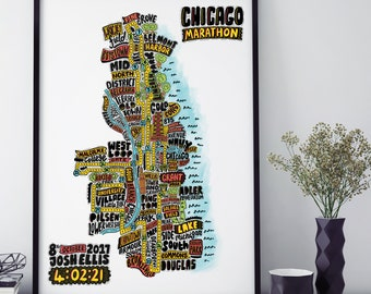Personalised Chicago Marathon Route Map  // Wall Art // Art Print