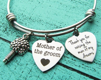 thank you for raising the man of my dreams bracelet, gift for mother in law to be, mother of the groom gift from bride, wedding gift jewelry