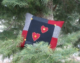 Two hearts-primitive upcycled wool pillow by Northernlodge