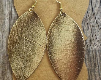 Gold Metallic Feather Leather Earrings.