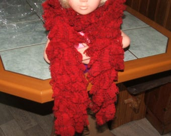 Red Plaid ruffle scarf - handmade