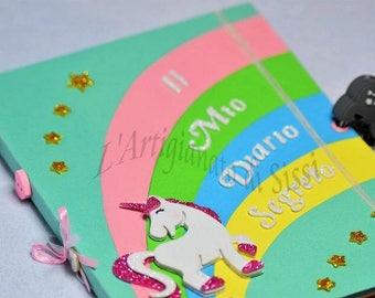 Secret diary with padlock or tear