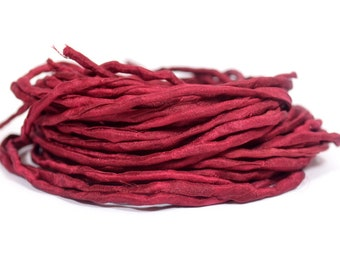 Bordeaux Hand Dyed Silk Ribbons - Silk String Style - S5