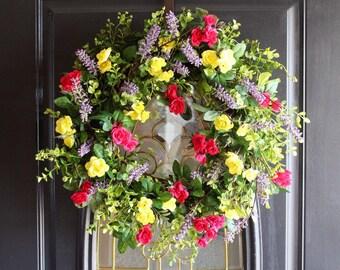 Bestseller Wreaths, Spring Wreath, Summer Wreath, Easter Wreath, Everyday Wreath, Front Door Wreath, Rose Wreath,  Front Door Wreath