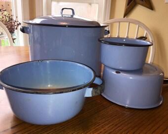 Vintage Enamelware Cooking Set