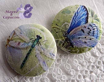 2 buttons in fabric, butterfly and dragonfly, 0.86 in / 22 mm