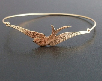 Gold Sparrow Bracelet, Spring Bracelet, Spring Bangle Bracelet, Spring Jewelry, Spring Fashion, Gold Bird Bracelet Bangle, Sparrow Jewelry