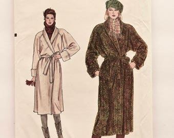 Vogue 8439 Coat Sewing Pattern Vintage 1980s Shawl Collar Wrap Coat Raglan Sleeves with Belt UNCUT Factory Folds Very Easy Vogue Size 14