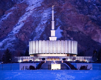 Provo Temple Night Time