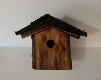 "Birdhouse Rustic Live Edge ,  Birch Roof , Exact house in Pic will be exact one shipped , 10""×8""×8"""