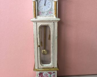 Dolls house 1/12th scale Shabby Chic Grandfather Clock