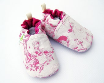Sale Medium Classic Vegan Story Book Toile / All Fabric Soft Sole Baby Shoes / Ready to Ship / Babies