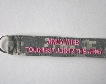 Army ACU keychain Army Sister Army Wife any words ok custom made to order
