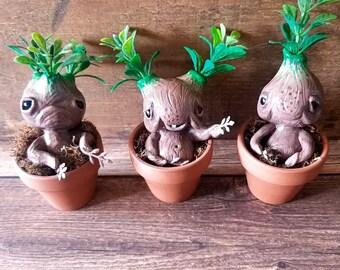 Baby Mandrake art doll// art toy// polymer clay figurine