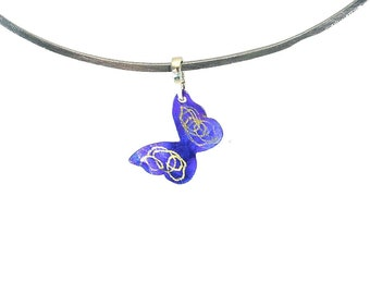 Butterfly Pendant, Titanium Butterfly Pendant, Purple Butterfly, Anodized Titanium Pendant, Butterfly Necklace, Jewelry, Nature Inspired