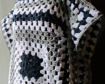 Expanding Squares Granny Square Poncho Crochet Pattern