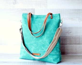 on SALE! - Waxed Canvas Tote Bag, UNISEX Bag, GREEN Tote Bag, Waterproof Tote Bag, Leather Straps, Travel, Laptop Bag, Women bag, Men Bag