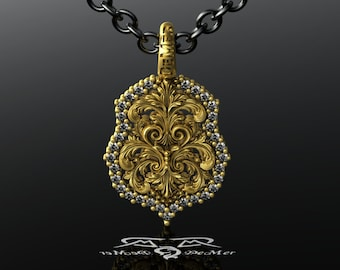 Diamond Halo Floral Scrollwork Pendant in Antique European Yellow Gold 14kt 585. Floating Diamonds Garden Conflict Free customizable custom.