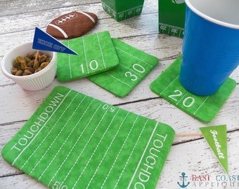 FOOTBALL FIELD COASTER mug rug embroidery design