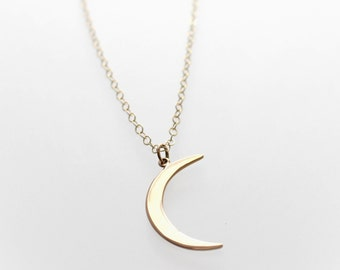 Gold Moon Necklace - Gold Crescent Moon Necklace - Long Layering Necklace - Celestial Jewelry - Love You to the Moon - Moon Charm